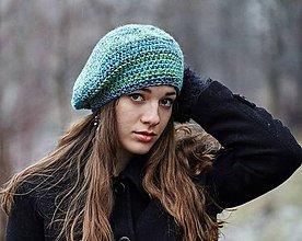 Čiapky - Zeleno-modrá baretka - 10280406_