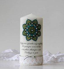 Svietidlá a sviečky - Motivačná sviečka s mandalou - 10282507_