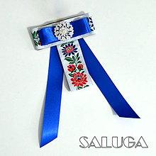 Odznaky/Brošne - Dámsky motýlik - modrý - folklórny - 10282605_