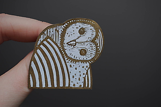Odznaky/Brošne - Zlatá sova - 10281143_