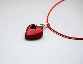 Náhrdelníky - Náhrdelník - Malé, červeno - modré srdiečko - 10281044_