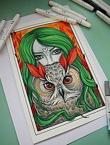 Kresby - Žena so sovou - originál - 10282514_