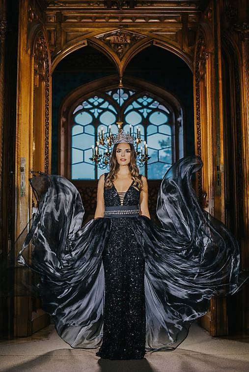 Couture šaty QUEEN OF THE NIGHT onyx