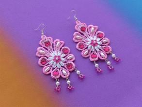 Náušnice - Ružový kvet - 10282123_