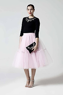 Sukne - Tylová sukňa Midi ružová s volánmi - 10282900_