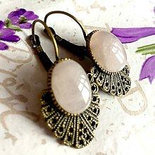 Náušnice - Vintage Rose Quartz Earrings / Bronzové náušnice s ruženínom /1407 - 10283283_