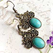 Náušnice - Tyrkenite Bronze Flower Filigree Earrings / Bronzové náušnice s tyrkenitom /1410 - 10283326_