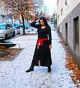Sukne - lel etno maxi sukňa patchwork do červeno-čierna - 10284444_