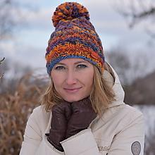 Čiapky - Zľava z 24 na 20 eur-Oranžovo-modrá čiapka - 10285131_