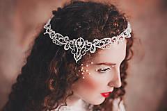 """Ozdoby do vlasov - biela čipkovaná tiara/choker white dream - """"čas čipky"""" - 10285389_"""