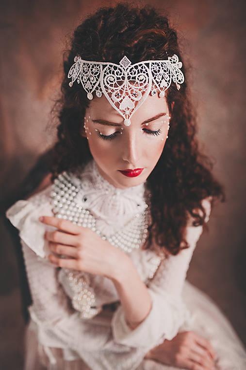 biela čipkovaná tiara/choker white dream -