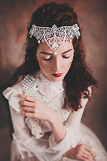 """Ozdoby do vlasov - biela čipkovaná tiara/choker white dream - """"čas čipky"""" - 10285396_"""
