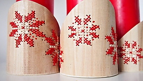 Dekorácie - Červeno biely kvet - stojan na sviečky - 10284447_
