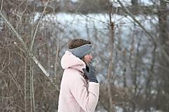 Čiapky - ...dámska čelenka 100% MERINO GREY - 10285053_