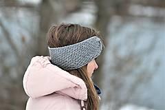 Čiapky - ...dámska čelenka 100% MERINO GREY - 10285056_