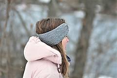 Čiapky - ...dámska čelenka 100% MERINO GREY - 10285057_