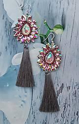Náušnice - sivo ružové  kamienkové - 10284538_
