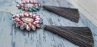 Náušnice - sivo ružové  kamienkové - 10284540_