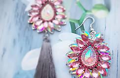 Náušnice - sivo ružové  kamienkové - 10284541_