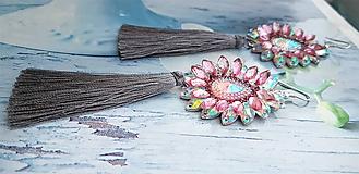 Náušnice - sivo ružové  kamienkové - 10284543_