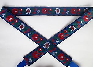 Opasky - dámsky opasok folk obojstranný  (Modrá) - 10284172_