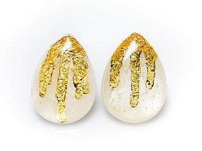 Náušnice - Kaaty náušnice perleť/zlato - 10284000_