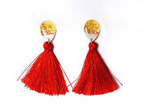 Náušnice - Kaaty Červené elegantné náušnice - 10284648_