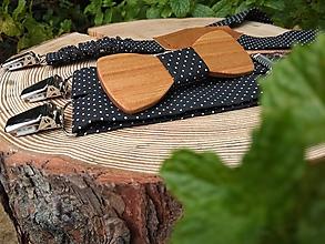 Detské doplnky - Detský drevený motýlik a traky - 10283301_