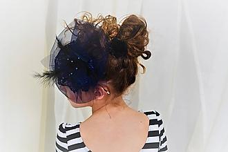 Ozdoby do vlasov - Fascinátor tmavo modrý - 10283957_
