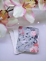 Úžitkový textil - Zerowaste kozmetické obrúsky kvety na šedej  - 10282832_