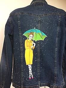 Kabáty - Maľovaný kabátik,bunda - maľba dáma s dáždnikom - 10284465_