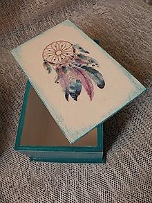 Krabičky - Dárková krabička,šperkovnice s lapačem snů  petrolejová - 10283966_