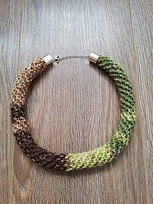 Náhrdelníky - Háčkovaný náhrdelník - špirálový (Hnedá) - 10282916_