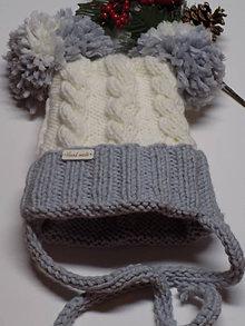 Detské čiapky - Čiapka detská pletená...bielo - sivá - 10284547_