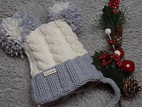 Detské čiapky - Čiapka detská pletená...bielo - sivá - 10284548_