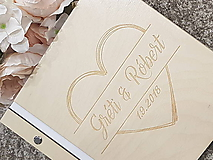 Papiernictvo - Drevený fotoalbum/ kniha hostí Srdce - 10284846_