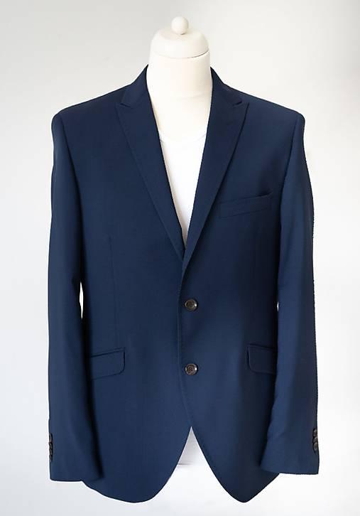MILAN II. modrý oblek uni half canvas, nohavice s manžetou