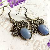 Náušnice - Blue Jade Bronze Flower Filigree Earrings / Bronzové náušnice s modrým jadeitom /1417 - 10288210_
