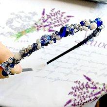 Ozdoby do vlasov - Blue & White Silver Beaded Headband / Korálková čelenka modrá-biela-strieborná /1412 - 10285686_