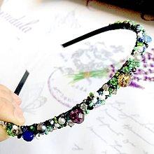Ozdoby do vlasov - Blue Green Violet Beaded Headband / Korálková čelenka modrá-zelená-fialová /1413 - 10285739_