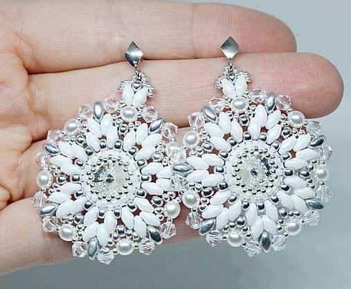 Luxusné svadobné náušnice  Snehové vločky  so Swarovski® kryštálmi   Ag 925 b3e6aacdbe8