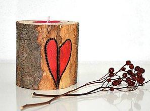 Svietidlá a sviečky - Drevený svietnik-Nelám mi srdce - 10286152_