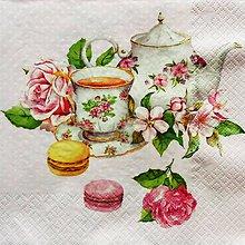 Papier - S1378 - Servítky - šálka, čajník, čaj, ruža, makronka, muffiny - 10285779_