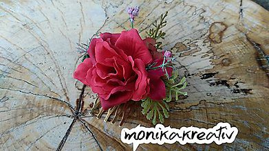 Ozdoby do vlasov - hrebienok ruža - 10286805_
