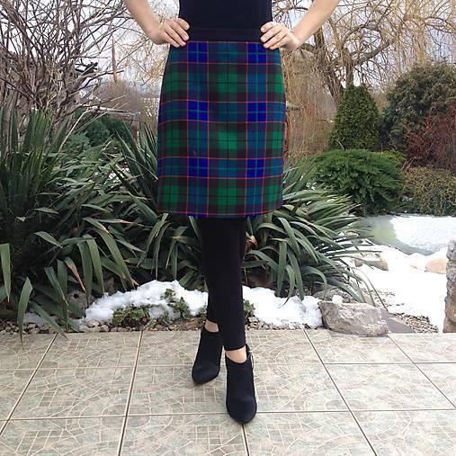 b3cb7e9162ad Károvaná áčková sukňa MODROZELENÁ   LuxuryCouture - SAShE.sk ...