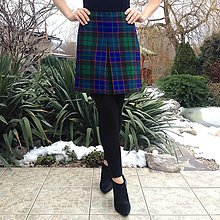 Sukne - károvaná sukňa s protizáhybom MODROZELENÁ - 10288467_