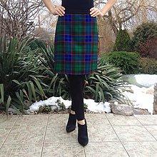 Sukne - károvaná áčková sukňa MODROZELENÁ - 10288496_