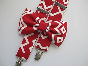 Doplnky - Pánsky motýlik a traky- čičmany set v červenom - 10288019_