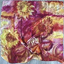 Šatky - Štvorcová hodvábna šatka - Kvety slnka - 10285590_