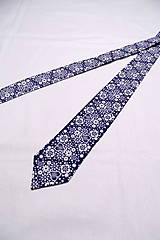 Doplnky - Folk kravata modrá - 10288507_